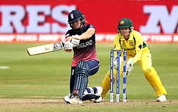 Katherine Brunt of England Women hits out - Mandatory by-line: Robbie Stephenson/JMP - 09/07/2017 - CRICKET - Bristol County Ground - Bristol, United Kingdom - England v Australia - ICC Women's World Cup match 19