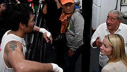 Oct 25, 2016.HOLLYWOOD CA. Manny Pacquiao talks with TopRank Bob Arum at the wild card gym  for his upcoming fight with Jessy Vargas Tuesday. The two will fight November 5th at the Thomas & Mac arena in Las Vegas. .Photo by Gene BlevinsLA DailyNewsZumaPress (Credit Image: © Gene Blevins via ZUMA Wire)