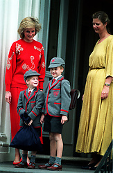 """File photo dated 15/09/1989 of Prince Harry (left), five, joins his brother Prince William, seven, on his first day at the Wetherby School in Notting Hill, West London. The young princes are pictured with their mother, the Princess of Wales (left), and the school Headmistress, Frederika Blair-Turner. The Duchess of Sussex gave birth to a 7lb 11oz daughter, Lilibet """"Lili"""" Diana Mountbatten-Windsor, on Friday in California and both mother and child are healthy and well, Meghan's press secretary said. Issue date: Sunday June 6, 2021."""