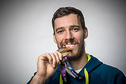 Goran Dragic with medal at photoshoot after press conference of KZS and Slovenian national baskteball team after winning Gold medal at Eurobasket 2017 - Istanbul on September 19, 2017 in Austria Trend Hotel, Ljubljana, Slovenia. Photo by Matic Klansek Velej / Sportida