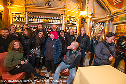 A great dinner party at the 12 Apostles Restaurant (in continuous operation with the same name for almost 300 years) during Motor Bike Expo. Verona, Italy. January 23, 2016.  Photography ©2016 Michael Lichter.