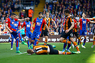 Crystal Palace defender Joel Ward clears his lines after a scramble in the box during the Premier League match between Crystal Palace and Hull City at Selhurst Park, London, England on 14 May 2017. Photo by Andy Walter.