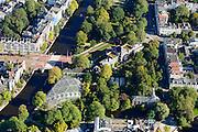 Nederland, Noord-Holland, Amsterdam, 27-09-2015; Kruispunt Nieuwe Herengracht met Muiderstraat en Wertheimpark and Hortus Botanicus aan Plantage Middenlaan. Geheel rechts Plantage Parklaan.. <br /> Plantage, green and spacious neighbourhood, eastern  part of the Centrum district of Amsterdam, with Botanical Garden.<br /> luchtfoto (toeslag op standard tarieven);<br /> aerial photo (additional fee required);<br /> copyright foto/photo Siebe Swart