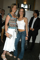 Left to right, sisters SANTA SEBAG-MONTEFIORE and TARA PALMER-TOMKINSON at the Tatler Summer Party in association with Moschino at Home House, 20 Portman Square, London W1 on 29th June 2005.<br />