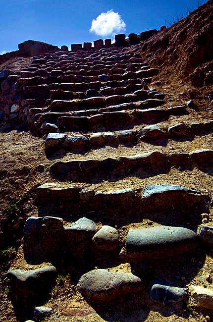 The worn stone steps constructed by the Incas, lead to Ecuador's most important Inca site, Ingapirca's Temple of the Sun.<br /> The temple is a UNESCO World Cultural Heritage Site.