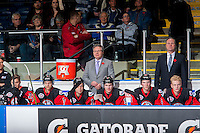 KELOWNA, CANADA - NOVEMBER 9: Kelly McCrimmon and Dave Lowry coaching staff of Team WHL stand on the bench against the Team Russia on November 9, 2015 during game 1 of the Canada Russia Super Series at Prospera Place in Kelowna, British Columbia, Canada.  (Photo by Marissa Baecker/Western Hockey League)  *** Local Caption *** Kelly McCrimmon; Dave Lowry;