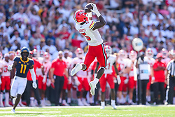 Sep 4, 2021; College Park, Maryland, USA; Maryland Terrapins wide receiver Rakim Jarrett (5) catches a pass during the first quarter against the West Virginia Mountaineers at Capital One Field at Maryland Stadium. Mandatory Credit: Ben Queen-USA TODAY Sports