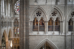 © Licensed to London News Pictures. 29/05/2018. London, UK.  The Queen's Diamond Jubilee Galleries (R) at Westminster Abbey. The recently finished galleries situated in 13th century triforium, 52 feet above the abbey floor, will display treasures not seen by the public before and tell the story of abbey's thousand-year history. Photo credit: Peter Macdiarmid/LNP