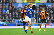 Tom Huddlestone of Hull City and Tom Davies of Everton in action. Premier league match, Everton v Hull city at Goodison Park in Liverpool, Merseyside on Saturday 18th March 2017.<br /> pic by Chris Stading, Andrew Orchard sports photography.