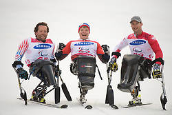 March 14, 2018 - Pyeongchang, South Korea - Medalists, left to right, Tyler Walker of the US (silver), Jesper Pedersen of Norway (gold) and Igor Sikorski (bronze) celebrate during a recognition ceremony following the Giant Slalom competition Wednesday, March 14, 2018 at the Jeongson Alpine Center at the Pyeongchang Winter Paralympic Games. Photo by Mark Reis (Credit Image: © Mark Reis via ZUMA Wire)