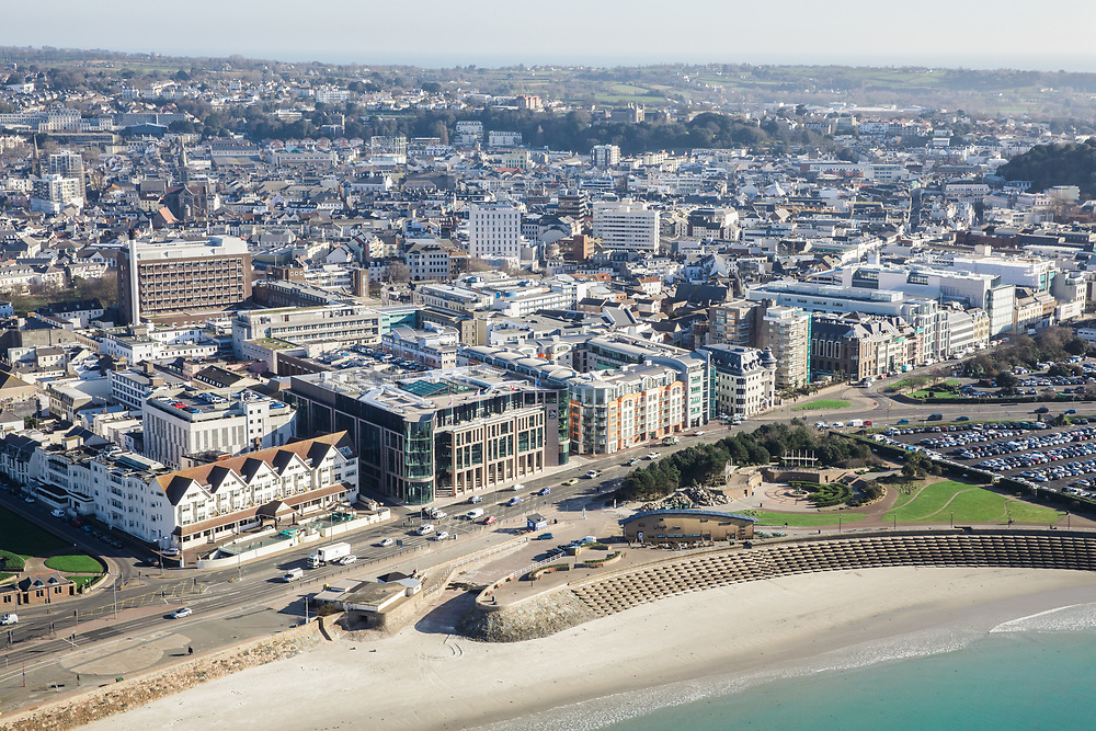 Aerial view of the waterfont and corporatre offices along the Esplanade, the finance and business district of St Helier, Jersey, CI