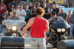 Jay Allen MC'd the keg roll contest at the Broken Spoke Saloon during Laconia Motorcycle Week 2016. Laconia, NH, USA. Wednesday, June 15, 2016.  Photography ©2016 Michael Lichter.