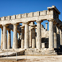 View of the East and North sides of the Temple of Aphaia or Afea, Aegina Greece.