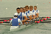 FISA World Cup Rowing Munich Germany..27/05/2004..Thursday morning opening heats...GBR M8+Stroke Tom James, Ed Coode, Phil Simmons,  Josh West, Andrew hodge, Jonno Devlin, D~an Ouseley and Robin Bourne Taylor. Cox Christian Comack... [Mandatory Credit: Peter Spurrier: Intersport Images].