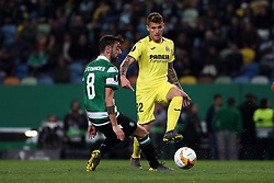 February 14, 2019 - Lisbon, Portugal - Villarreal's forward Dani Raba vies with Sporting's midfielder Bruno Fernandes from Portugal during the UEFA Europa League Round of 32 First Leg football match Sporting CP vs Villarreal CF at Alvalade stadium in Lisbon, Portugal on February 14, 2019. (Credit Image: © Pedro Fiuza/ZUMA Wire)