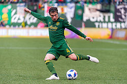 November 4, 2018 - Portland, OR, U.S. - PORTLAND, OR - NOVEMBER 04: Portland Timbers defender Jorge Vilafaã (4) takes a cross during the Portland Timbers first leg of the MLS Western Conference Semifinals against the Seattle Sounders on November 04, 2018, at Providence Park in Portland, OR. (Photo by Diego Diaz/Icon Sportswire) (Credit Image: © Diego Diaz/Icon SMI via ZUMA Press)