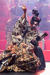 © Licensed to London News Pictures. 21/05/2015. London, UK. Pictured: Genki Hori as Lucianus (top) and Kazuaki Takeda as Player King. The Ninagawa Company returns to the Barbican and perform Hamlet by Shakespeare under the direction of Yukio Ninagawa. With Tatsuya Fujiwara as Hamlet. Performances in Japanese with English surtitles from 21 to 24 May 2015. Photo credit : Bettina Strenske/LNP