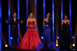May 7, 2018 - Lisbon, Portugal - Portuguese hosts Daniela Ruah (L), Silvia Alberto (2nd L), Catarina Furtado (2nd R) and Filomena Cautela (R ) during the Dress Rehearsal of the first Semi-Final of the 2018 Eurovision Song Contest, at the Altice Arena in Lisbon, Portugal on May 7, 2018. (Credit Image: © Pedro Fiuza/NurPhoto via ZUMA Press)
