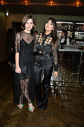 Left to right, SAI BENNETT and ZARA MARTIN at the Lancôme BAFTA Dinner held at The Cafe Royal, Regent's Street, London on 6th February 2015.