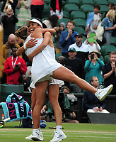 Tennis - 2019 Wimbledon Championships - Week Two, Sunday (Day Thirteen)<br /> <br /> Ladies doubles, Final: Su - Wei Hsieh (TPE) and Barbora Strycova (CZE) v Gabriela Dabrowski (CAN) and Yifan Xu (CHN)<br /> <br /> Su - Wei Hsieh and Barbora Strycova celebrate winning match point, on Centre Court.<br /> <br /> COLORSPORT/ANDREW COWIE