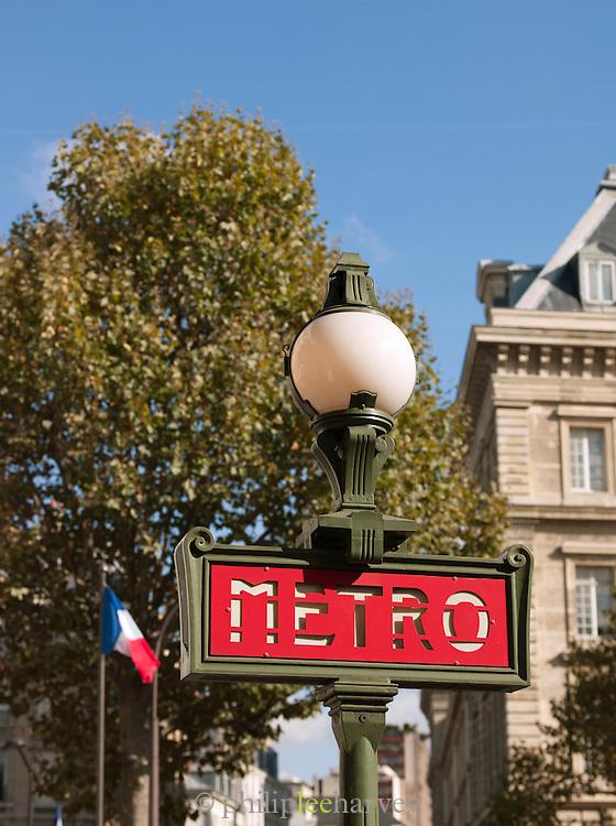 Traditional metro sign, Paris, France