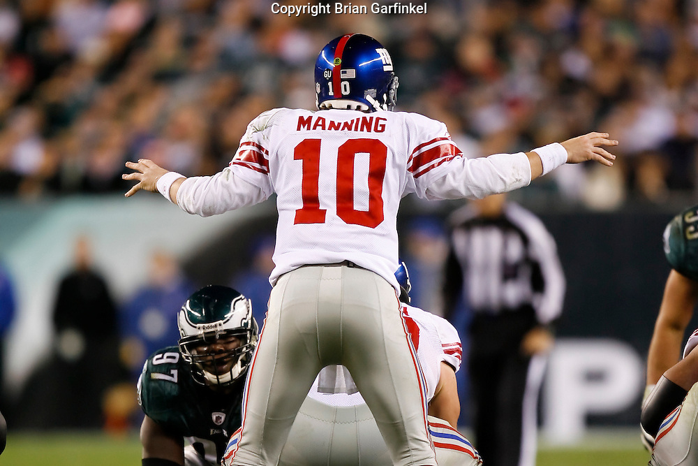 9 Oct 2008: New York Giants quarterback Eli Manning #10 motions to his line during the game against the Philadelphia Eagles on October 9th, 2008. The Giants won 36-31 at Lincoln Financial Field in Philadelphia, Pennsylvania.