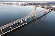 Aerial view of the Arthur Ravenel Bridge in Charleston, SC.