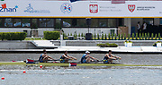 Poznan, POLAND, 22rd June 2019, Saturday, USA2 M4-, (b)REED Andrew, (2)di SANTO Michael, (3)KARWOSKI Alexander and (s) HACK Austin, Semi Final B, competing in the FISA World Rowing Cup II, Malta Lake Course, © Peter SPURRIER.<br /> <br /> 12:56:10