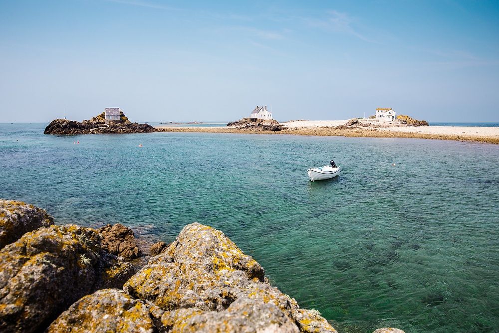 Calm water and an empty beach at the Ecrehous, a tourist destination off the coast of Jersey, CI