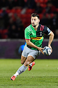 Harlequins scrum-half Danny Care looks for a pass during a Gallagher Premiership match won by Sale Sharks 27-17 at the AJ Bell Stadium, Eccles, Greater Manchester, United Kingdom, Friday, April 5, 2019. (Steve Flynn/Image of Sport)