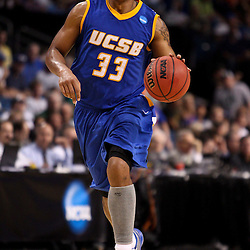 Mar 17, 2011; Tampa, FL, USA; UC Santa Barbara Gauchos guard/forward Orlando Johnson (33) during second half of the second round of the 2011 NCAA men's basketball tournament against the Florida Gators at the St. Pete Times Forum. Florida defeated UCSB 79-51.  Mandatory Credit: Derick E. Hingle