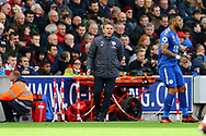 Leicester City Manager Claude Puel looks on from the technical area. Premier league match, Stoke City v Leicester City at the Bet365 Stadium in Stoke on Trent, Staffs on Saturday 4th November 2017.<br /> pic by Chris Stading, Andrew Orchard sports photography.