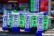 Team scarfs sold outside the ground during the Vanarama National League Play Off Final match between Tranmere Rovers and Forest Green Rovers at Wembley Stadium, London, England on 14 May 2017. Photo by Adam Rivers.