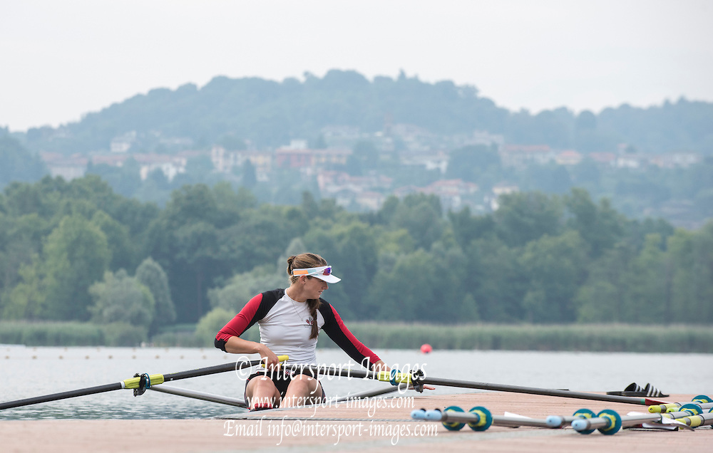 Varese. ITALY. CANW1X, Spare,   2015 FISA World Cup II Venue Lake Varese. Thursday  18/06/2015 [Mandatory Credit: Peter Spurrier/Intersport images]