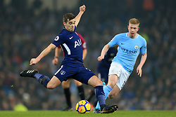 16th December 2017 - Premier League - Manchester City v Tottenham Hotspur - Harry Winks of Spurs battles with Kevin De Bruyne of Man City - Photo: Simon Stacpoole / Offside.
