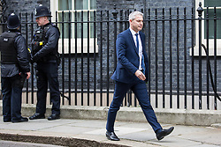 London, UK. 29th January, 2019. Stephen Barclay MP, Secretary of State for Exiting the European Union, leaves 10 Downing Street following a Cabinet meeting on the day of votes in the House of Commons on amendments to Prime Minister Theresa May's final Brexit withdrawal agreement which could determine the content of the next stage of negotiations with the European Union.