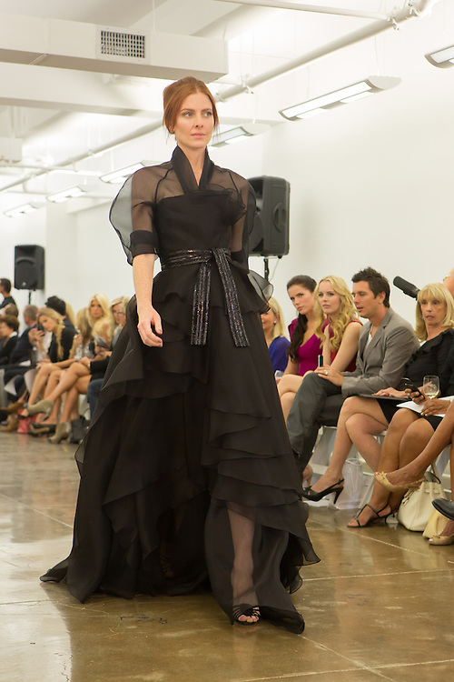 Black gown. By Carmen Marc Valvo at the Spring 2013 Fashion Week show in New York.