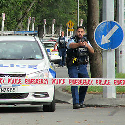 March 15, 2019 - Christchurch, New Zealand - At least 49 people have been killed and 48 wounded in terrorist attacks in two mosques in Christchurch, New Zealand. Armed police cordon off the area near one of the mosques, located on Deans Ave. (Credit Image: © Alexander Romitsyn/Russian Look via ZUMA Wire)