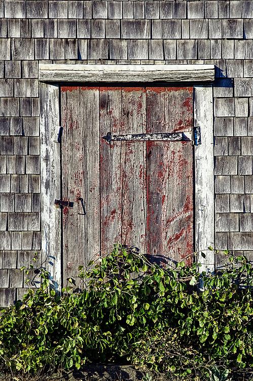 Rustic door and shingles, Cape Cod, Massachusetts, USA