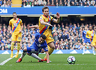 Chelsea's Pedro tussles with Crystal Palace's Yohan Cabaye during the Premier League match at the Stamford Bridge Stadium, London. Picture date: April 1st, 2017. Pic credit should read: David Klein/Sportimage via PA Images