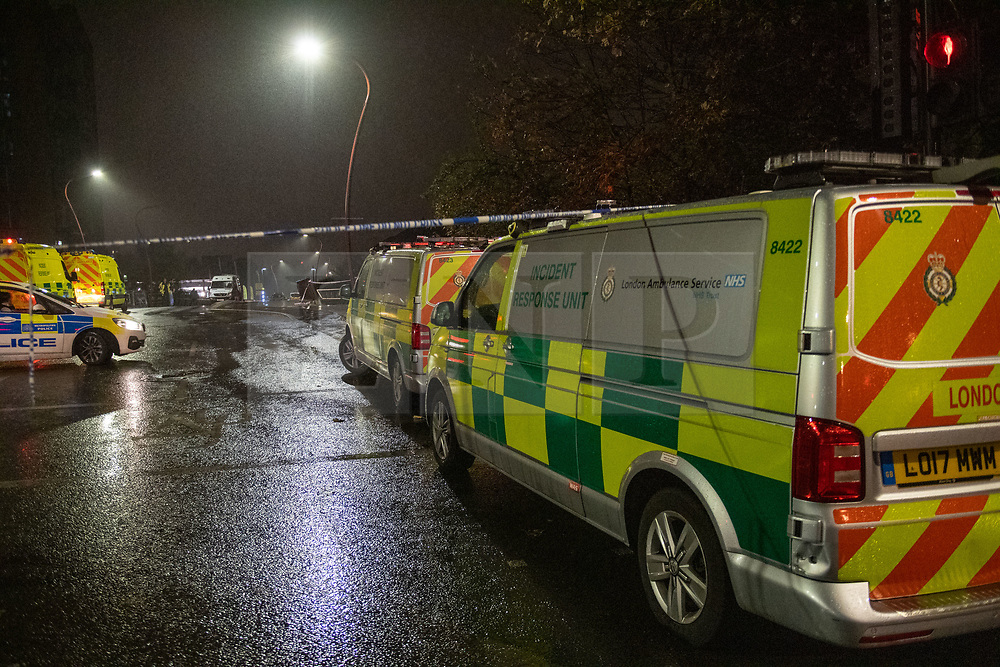 © Licensed to London News Pictures. 08/10/2020. London, UK. H.A.R.T incident response vehicles at the scene. At approximately 21:15BST a male was seen to enter the water near Ferry Road in Tottenham following a police pursuit from the Hackney / Tower Hamlets area of a number of males riding mopeds. Emergency services attended and a large scale search was launched. Photo credit: Peter Manning/LNP
