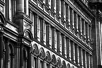 Architecture detail on Co-op building in Glasgow's south side