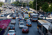 Traffic in Zhongguancun or Zhong Guan Cun, is a technology hub in Haidian District, Beijing, China. It is situated in the northwestern part of Beijing city. Zhongguancun is very well known in China, and is often referred to as China's Silicon Valley. This is Beijing's computer district with numerous tech companies offices situated here amongst the many malls which sell electronics and electrons equipment of all kinds. The tech park started as a small office where two decades ago some students from a nearby university decided that computer equipment may be a thing of the future so set up a small company. It has expanded in this time to  cover many square kilometres.