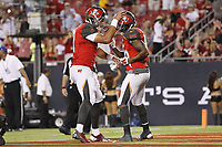 28 August 2014: Tampa Bay Buccaneers quarterback Mike Kafka (3) and Tampa Bay Buccaneers wide receiver Solomon Patton (86) celebrate after connecting for a touchdown during the NFL American Football Herren USA Preseason game between the Washington Redskins and Tampa Bay Buccaneers at Raymond James Stadium in Tampa, Florida. NFL American Football Herren USA AUG 28 Preseason - Redskins at Buccaneers PUBLICATIONxINxGERxSUIxAUTxHUNxRUSxSWExNORxONLY Icon0828201401378<br />