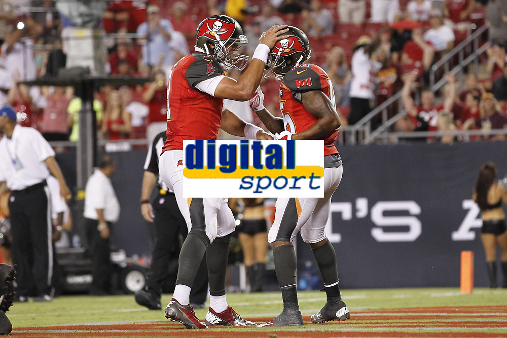 28 August 2014: Tampa Bay Buccaneers quarterback Mike Kafka (3) and Tampa Bay Buccaneers wide receiver Solomon Patton (86) celebrate after connecting for a touchdown during the NFL American Football Herren USA Preseason game between the Washington Redskins and Tampa Bay Buccaneers at Raymond James Stadium in Tampa, Florida. NFL American Football Herren USA AUG 28 Preseason - Redskins at Buccaneers PUBLICATIONxINxGERxSUIxAUTxHUNxRUSxSWExNORxONLY Icon0828201401378<br /> <br /> 28 August 2014 Tampa Bay Buccaneers Quarterback Mike Kafka 3 and Tampa Bay Buccaneers Wide Receiver Solomon Patton 86 Celebrate After Connecting for A Touchdown during The NFL American Football men USA Preseason Game between The Washington Redskins and Tampa Bay Buccaneers AT Raymond James Stage in Tampa Florida NFL American Football men USA Aug 28 Preseason Redskins AT Buccaneers PUBLICATIONxINxGERxSUIxAUTxHUNxRUSxSWExNORxONLY