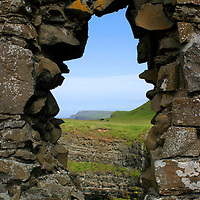 Europe, Ireland, Northern Ireland, Bushmills. Dunluce Castle. tower window view.