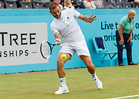 Tennis - 2019 Queen's Club Fever-Tree Championships - Day Three, Wednesday<br /> <br /> Men's Singles, First Round: Daniel Evans (GBR) Vs. Stan Wawrinka (SWI)<br /> <br /> Daniel Evans (GBR) in action before rain stopped play on Centre Court.<br />  <br /> COLORSPORT/DANIEL BEARHAM