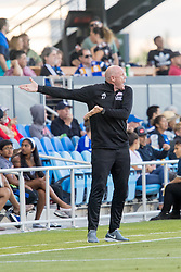 June 13, 2018 - San Jose, CA, U.S. - SAN JOSE, CA - JUNE 13: New England Revolution Head Coach Brad Friedel encourages his team during the MLS game between the New England Revolution and the San Jose Earthquakes on June 13, 2018, at Avaya Stadium in San Jose, CA. The game ended in a 2-2 tie. (Photo by Bob Kupbens/Icon Sportswire) (Credit Image: © Bob Kupbens/Icon SMI via ZUMA Press)