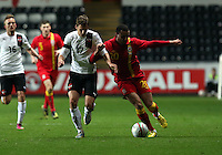 Pictured L-R: Florian Klein of Austria is challenging Hal Robson-Kanu of Wales.  Wednesday 06 February 2013..Re: Vauxhall International Friendly, Wales v Austria at the Liberty Stadium, Swansea, south Wales.