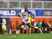 USA player Perry Baker breaks away to score a try in the game USA vs Australia  during the USA Sevens Rugby Series at Sam Boyd Stadium, Las Vegas, USA on 2 March 2018. Picture by Ian  Muir.